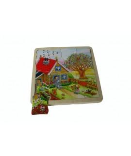 Puzzle en bois saisons de l'année. Mesures: 20x20 cm.