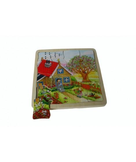 Puzzle de madera Estaciones del Año. Medidas: 20x20 cm.