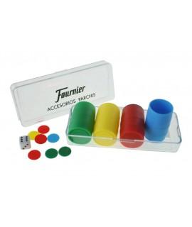 Accessoris de parxís per a 4 jugadors. Mesures: 4x12x5 cm.
