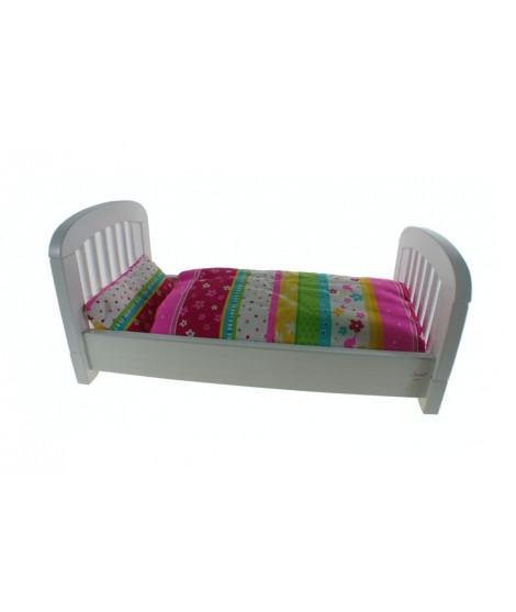 Cama de madera para muñecas color blanco con edredón cojín color rosa