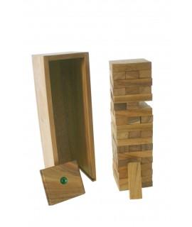 Torre trontollant de fusta amb caixa. Mesures: 30x10x9 cm.