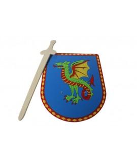 Bouclier et épée en bois de dragon. Mesures: 37x27 cm.