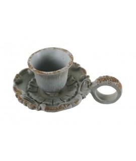 Palmatòria de ferro colat color envellit per espelmes de Ø2,5 cm.