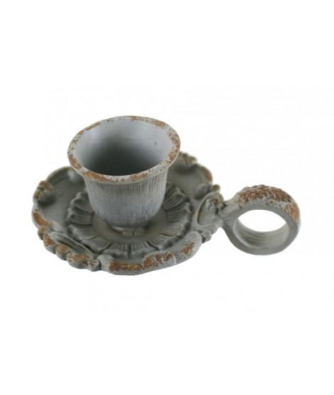 Palmatoria de hierro colado color envejecido para velas de Ø2,5 cm.