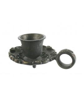 Palmatòria de ferro colat color òxid per espelmes de Ø2,5 cm.