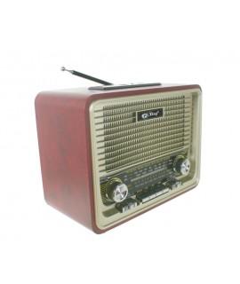 Ràdio estil retro botons i cants rodons. Mesures: 16x20x12 cm.