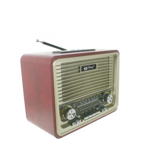 Radio estilo retro botones y cantos redondos. Medidas: 16x20x12 cm.