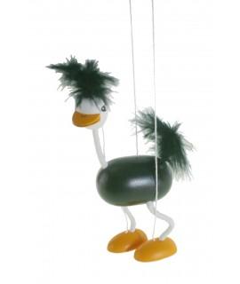 Marioneta de cuerda en madera pintada Mod. Avestruz.  Medidas: 38x16 cm.