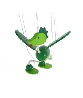 Marioneta de cuerda en madera mod. dinosaurio. Medidas: 38x16 cm.