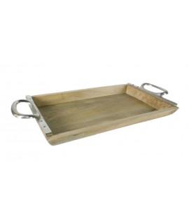 Plateau en bois naturel avec poignées en métal. Mesures: 60x31 cm.