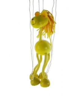 Marioneta de cuerda en madera mod. leon. Medidas: 38x16 cm.
