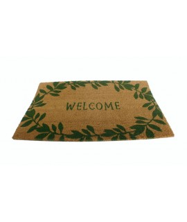 Felpudo de esparto para puerta con bienvenida welcome. Medidas: 75x45 cm.