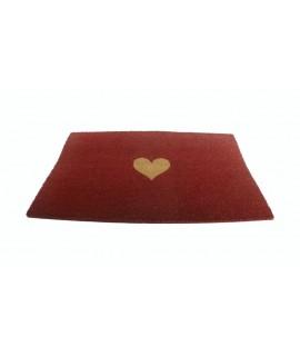 Felpudo de esparto para puerta con dibujo corazón. Medidas: 75x45 cm.