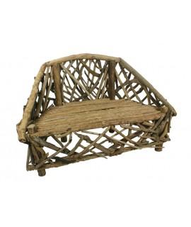 Banc en bois renfloué style primitif. Mesures: 102x150x75 cm.