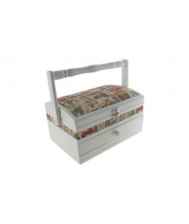 Boîte à couture en bois combinée rectangulaire blanche. Mesures: 14x25x16 cm.