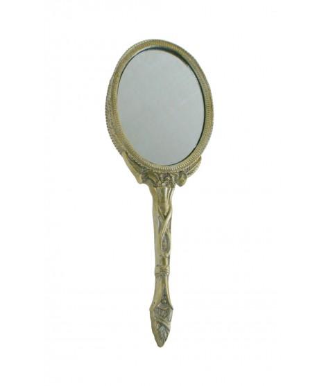 Espejo de mano para tocador y baño. Medidas: 27x13 cm.
