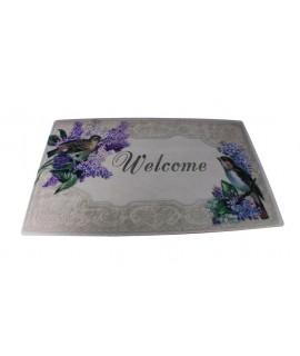 Tapis pour porte d'entrée en caoutchouc et polyester. Mesures: 74x44 cm.