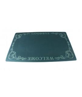 Alfombra verde de puerta entrada de caucho y polyester. Medidas: 74x44 cm.