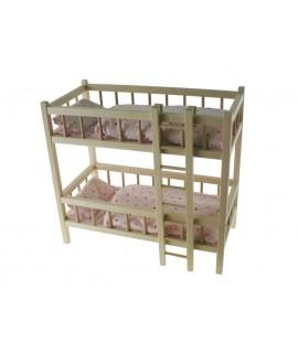 Cama de muñecas doble con barrotes en madera de haya con sábanas. Medidas: 55x60x30 cm.