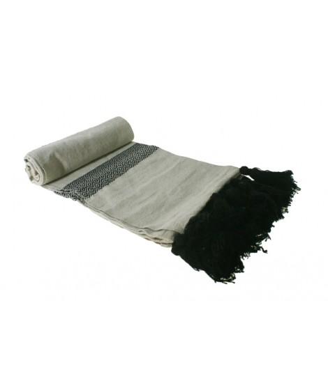 Manta algodón estilo nórdico beige y negro 100% algodón. Medidas: 130x180 cm.