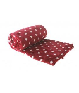 Manta microfibra cors color vermell. Mesures: 160x210 cm.