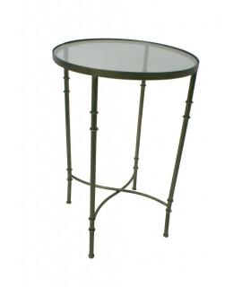 Mesita velador redonda de metal y sobre de cristal. Medidas: 72xØ45 cm.