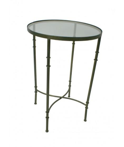 Table ronde avec table en métal et plateau en verre. Mesures: 72xØ45 cm.