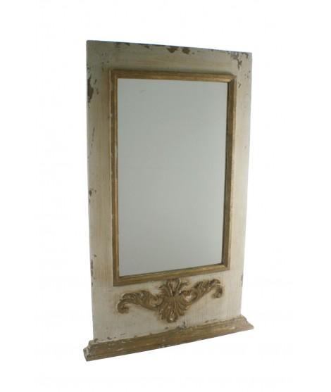 Espejo de pared con marco de madera acabado rustico con relieve. Medidas: 109x69x6 cm.