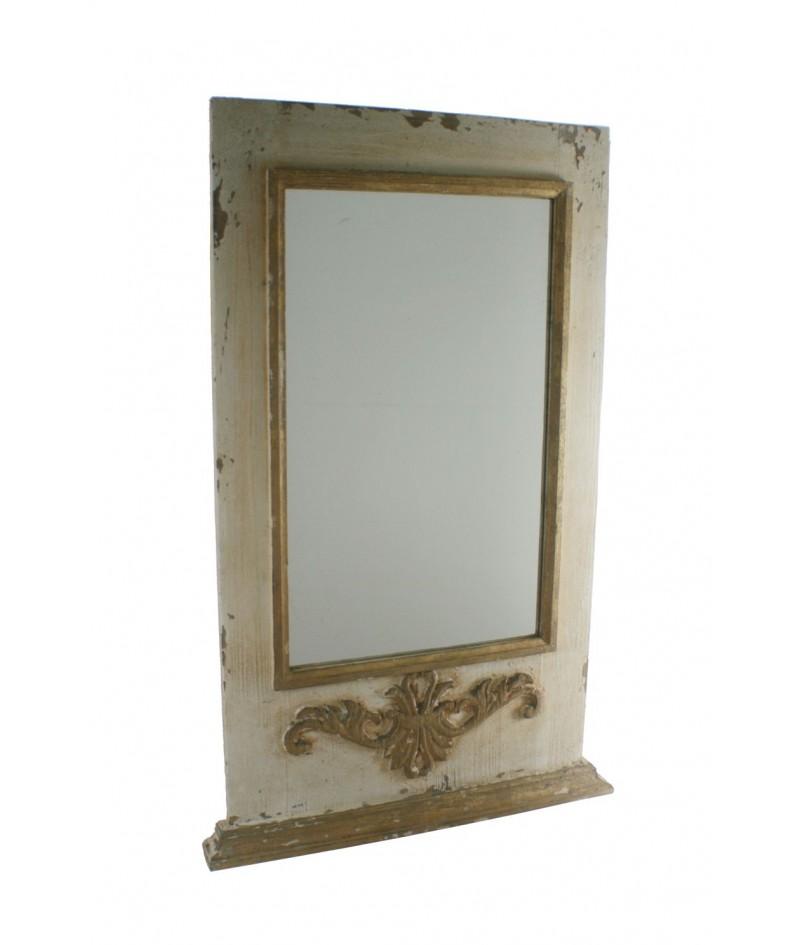 Espejo de pared con marco de madera acabado rustico . 109x69x6 cm.