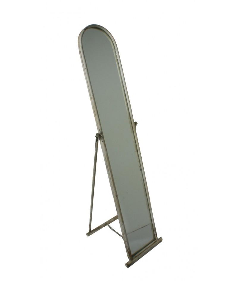 Espejo pie marco metálico redondo color crema envejecido. 142x34x6 cm.