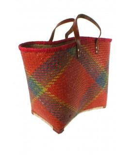 Cesta para la compra de hoja de palma y asas de cuero gran capacidad. Multicolor rojo