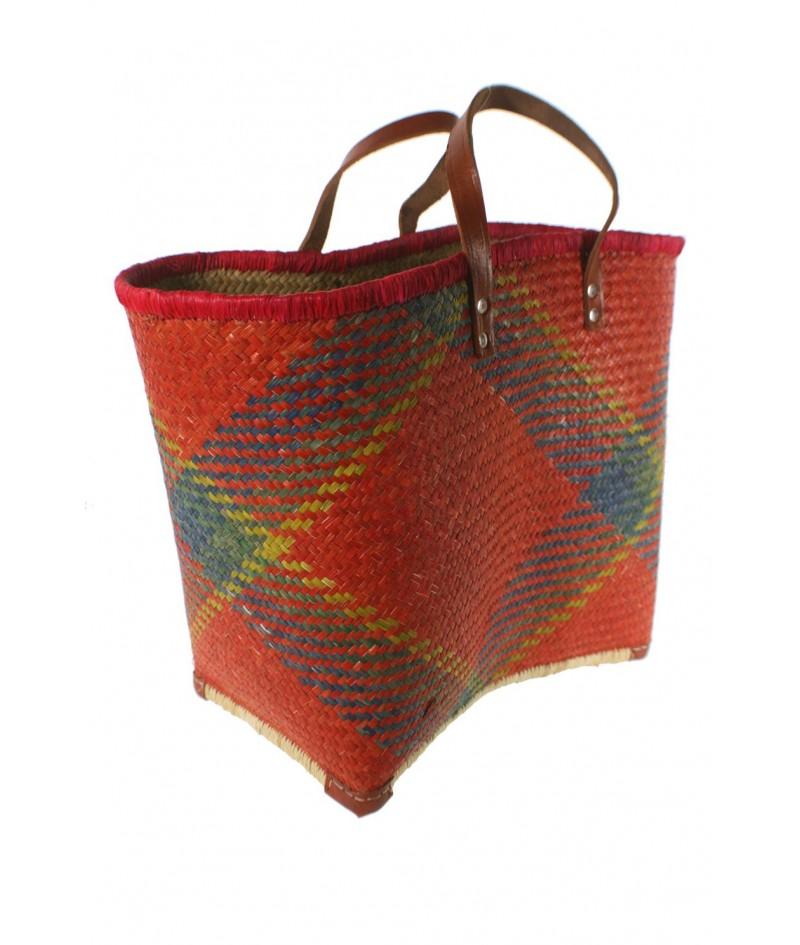 realeza torneo Caligrafía  Cesta compra gran capacidad asas de cuero multicolor rojo. 36x49 cm.