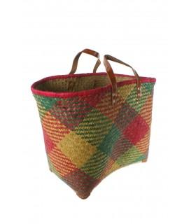 Panier à provisions de grande capacité avec poignées en cuir multicolores vertes. Mesures: 36x49 cm.
