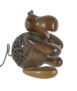 Lámpara infantil de madera y coco forma de oso para mesita niño niña