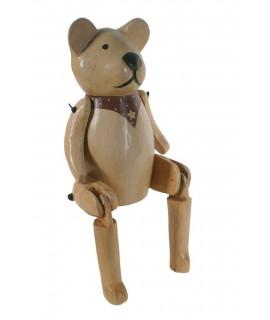 Figura oso de madera maciza articulado. Medidas: 34x8x13 cm.