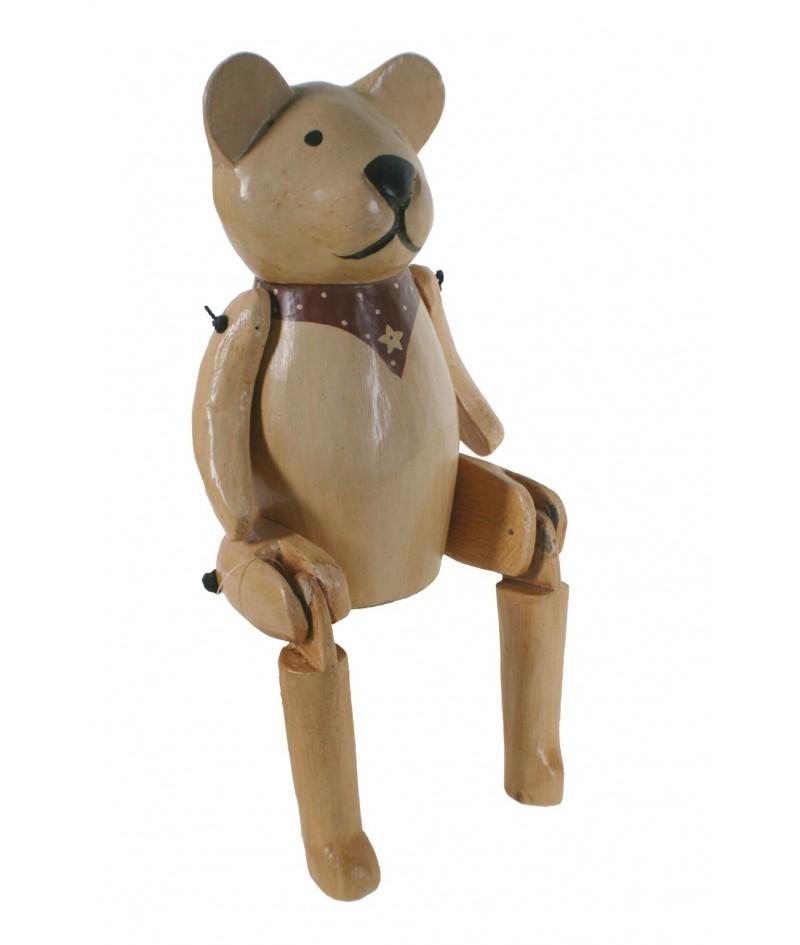 Figura decorativa de oso articulada realizado en madera maciza.