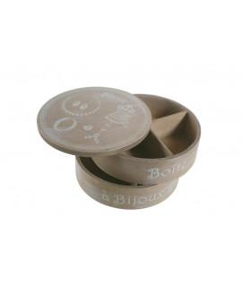 Boîte à bijoux ronde en bois sur deux étages. Mesures: 11xØ17 cm.