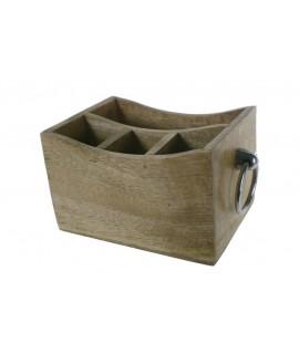 Caja contenedor de madera con separadores y asas. Medidas: 13x25x16 cm.