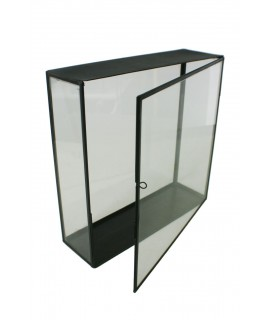 Urna de cristal rectangular alta con borde metálico para exposición