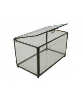 Boîte à bijoux rectangulaire en verre et contours de couleur rouille métallique, décoration de la maison, style rétro vintage