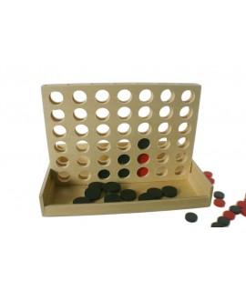 Joc 4 en ratlla de fusta natural. Mesures: 18x24x17 cm.