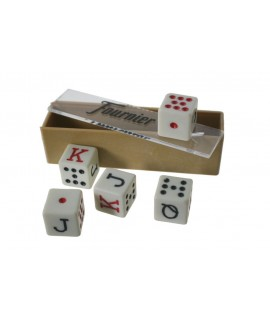 Dados de Póker para juego de cartas. Medidas: 1,5 cm.