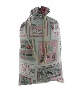 Bolsa para el pan de tela estampada, Frases. Medidas: 57x37 cm.