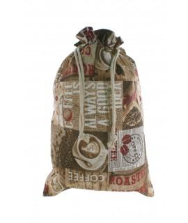 Bolsa de pan de tela estampada café espresso