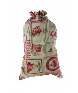 Bolsa para el pan de tela estampada, París. Medidas: 57x37 cm.