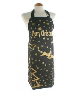 Delantal para cocina Navidad renos de nieve color negro