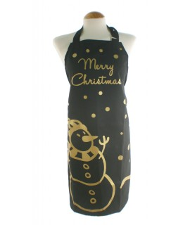 Delantal de Navidad color negro muñeco de nieve.