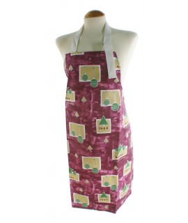 Delantal para cocina con diseño Navideño de color lila estampado bolas y peto ajustable. Medidas: 80x65 cm.