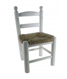 Silla infantil de madera y asiento de anea color blanco para niño niña regalo original