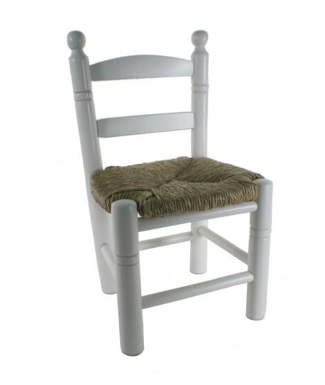 Silla Infantil con asiento de anea color blanco. Medidas totales: 53x27x27 cm.